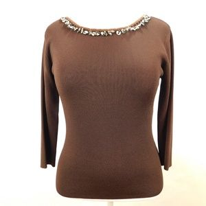 JAC Womens Large Knit Top Brown Fitted Beaded